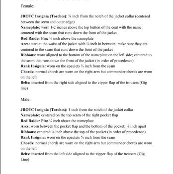 Uniform Reference Sheet